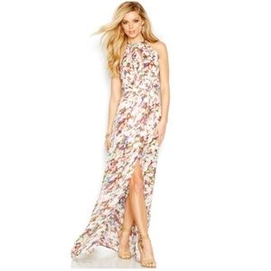 Halter low back floral maxi dress